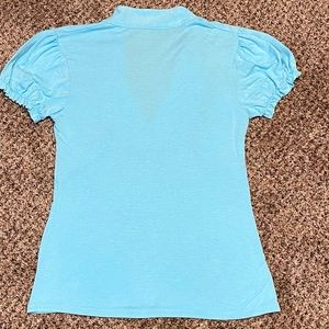 579 Tops - 579 Ruffled tee shirt blouse XS pretty blue
